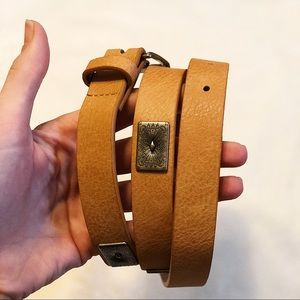 Metal and Leather Tan Belt